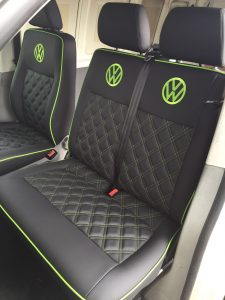 CSG Trimming Southampton. VW seats with bentley stich and green trim