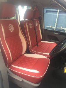 CSG Trimming Southampton. Red & White VW Campervan seat retrim